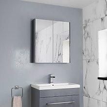 Aurora Double Door Grey Gloss Mirror Cabinet 650 x
