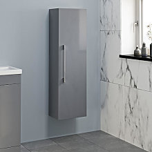 Aurora Grey Gloss Wall Hung Tall Bathroom Cabinet