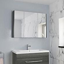 Aurora Triple Door Charcoal Grey Mirror Cabinet