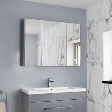 Aurora Triple Door Grey Gloss Mirror Cabinet 650 x