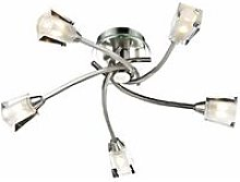 Austin ceiling light satin chrome and glass 5 bulbs