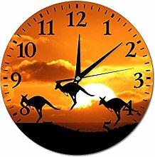 Australia Kangaroo Wall Clock Silent Non Ticking