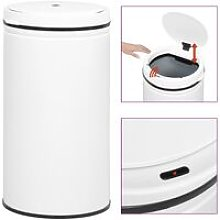 Automatic Sensor Dustbin 60 L Carbon Steel White