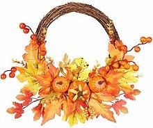 Autumn Artificial Maple Leaf Wreath, Pumpkin Berry