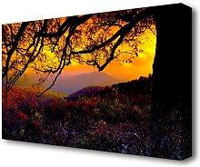 Autumn Dusk Forest Canvas Print Wall Art East