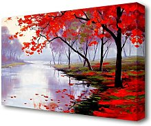 Autumn Lake Forest Canvas Print Wall Art East