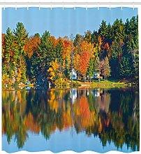 Autumn lake house landscape High-definition