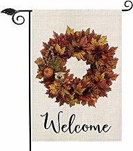 Autumn Leaf Wreath Welcome Garden Flag Vertical