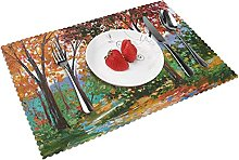 Autumn Oil Paintings Table mat 4 piece kitchen