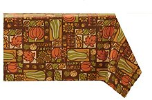 Autumn Patchwork Vinyl PEVA Tablecloth, 52 x 70