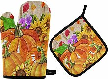 Autumn Pumpkin Sunflower Oven Mitts Pot Holders