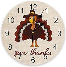 Autumn Thanksgiving Turkey Wall Clock Bedroom