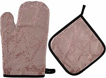 AUUXVA funnyy Oven Mitts and Pot Holders Sets Pink