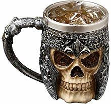auvstar Gothic 3D Skull Beer Mug,Medieval Viking