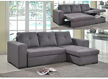 Avalon Modern Corner Sofa Bed In Grey Linen With