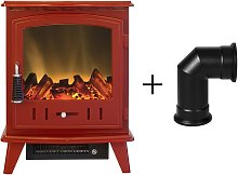 Aviemore Electric Stove in Red Enamel with Angled