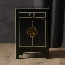 Avlion Small Wooden Bedside Cabinet In Black And