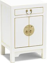 Avlion Wooden Bedside Cabinet In White With 2