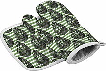 Avocado Green Strip Heat Resistant Oven Gloves