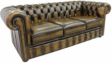 Avon Genuine Leather 3 Seater Chesterfield Sofa