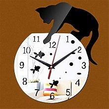 AWJ Wall Clock Diy Naughty Cat Real Clocks Modern