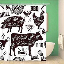 Awowee Decor Shower Curtain Bbq Meat Cuts and