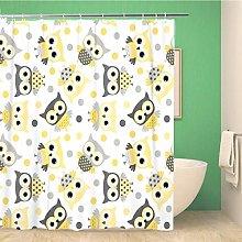 Awowee Decor Shower Curtain Gray Cute Animal