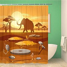 Awowee Decor Shower Curtain Stone Age Hunting for