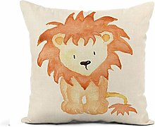Awowee Flax Throw Pillow Cover Orange Baby Lion