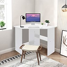 Awssya Corner Desk, Corner Computer Desk, White