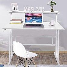 Awssya Single Computer Desk with Storage Shelf,