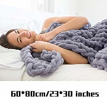 Awtang Chunky Knitted Plaid Blanket,Hand Woven