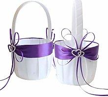 Awtlife 2PCS Purple Flower Girl Basket Double