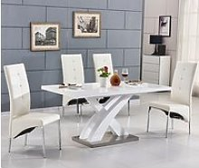 Axara Small Extending Gloss Table White With 4