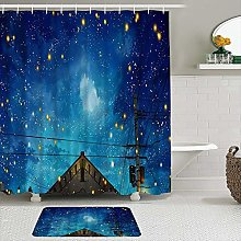 AXEDENRRT Fabric Shower Curtain and Mats Set,Night