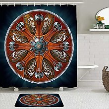 AXEDENRRT Fabric Shower Curtain and Mats Set,Norse