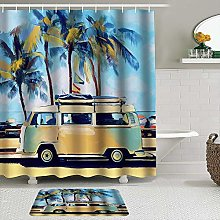AXEDENRRT Fabric Shower Curtain and Mats Set,Oil