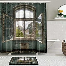 AXEDENRRT Fabric Shower Curtain and Mats Set,Old