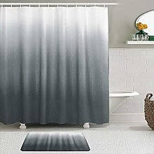 AXEDENRRT Fabric Shower Curtain and Mats Set,Ombre