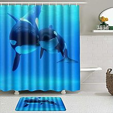 AXEDENRRT Fabric Shower Curtain and Mats Set,Orca