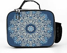 AXGM Cool Bag Beige Blue Mandala Lunch Bag Lunch