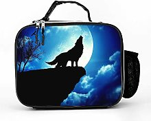 AXGM Cool Bag Blue Cloud Moon Wolf Lunch Bag Lunch