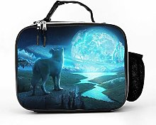 AXGM Cool Bag River Night Blue Moon Wolf Lunch Bag