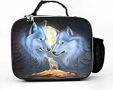 AXGM Cool Bag White Wolf Moon Night Lunch Box Bag