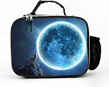 AXGM Cool Bag Wolf Moon Blue Lunch Bag Picnic Bag