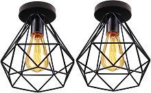 Axhup - 2pcs Industrial Ceiling Lamp Diamond