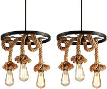 Axhup - 2pcs Vintage Ceiling Lights Industrial