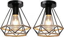 Axhup - 2pcs Vintage Industrial Ceiling Lighting
