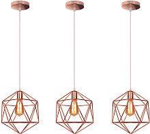 Axhup - 3x Metal Pendant Lamp Antique Pendant