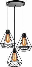 Axhup - Antique 3 Lights Pendant Light,Industrial